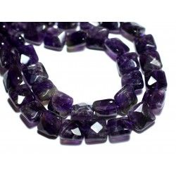 2pc - Perles de Pierre - Améthyste Carrés Facettés 10mm - 8741140007628