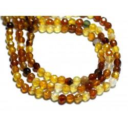 30pc - Perles de Pierre - Agate Boules Facettées 4mm Marron Jaune Ocre - 8741140007536