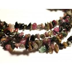 50pc - Perles de Pierre - Tourmaline Multicolore Rocailles Chips 3-8mm - 8741140014527