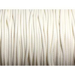 5 mètres - Cordon coton ciré enduit Rond 1.5mm Blanc crème - 4558550088406