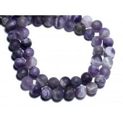 10pc - Perles de Pierre - Améthyste Chevron Mat Grivré Boules 6mm - 8741140008427