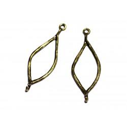 10pc - Apprêts Connecteurs Métal Bronze qualité Feuilles Torsades 43mm - 8741140003705