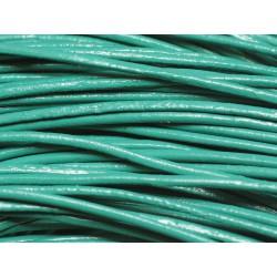 5 mètres - Cordon Cuir Véritable Vert Paon Turquoise 2mm 4558550018489