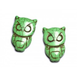 4pc - Perles Turquoise synthèse Chouette Hibou 30x20mm Vert Pomme - 8741140003521