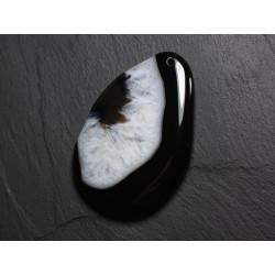 Pendentif en Pierre - Agate et Quartz Noir et Blanc Goutte 64mm N23 - 4558550085719