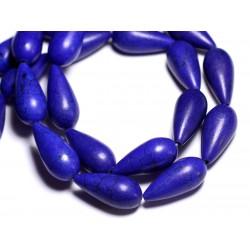 4pc - Perles de Pierre - Turquoise synthèse reconstituée Gouttes 25mm Bleu Roi - 8741140005310