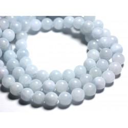 10pc - Perles de Pierre - Jade Boules 10mm Bleu Clair Pastel - 4558550002730