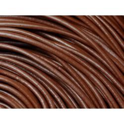 4 mètres - Cordon Cuir Véritable Marron Chocolat 3mm - 4558550006639