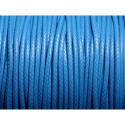 5 mètres - Cordon coton ciré enduit Rond 2mm Bleu Azur - 4558550088352