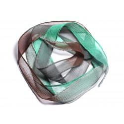 Collier Ruban Soie teint à la main 130x1.8cm Marron Gris Bleu Vert Paon (SOIE169) - 8741140003118