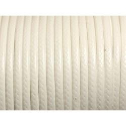 3 mètres - Cordon Coton Ciré 3mm Blanc 4558550013071