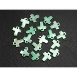 10pc - Perles Breloques Pendentifs Nacre Croix 12mm Vert 4558550014283