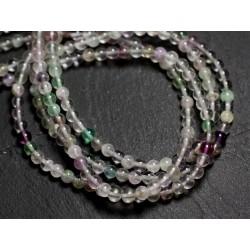 30pc - Perles de Pierre - Fluorite Multicolore Boules 4mm - 8741140005150