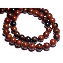 8pc - Perles de Pierre - Obsidienne Acajou Mahogany Boules 12mm - 8741140005266
