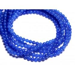 40pc - Perles de Pierre - Jade Boules 4mm Bleu Roi - 8741140005396