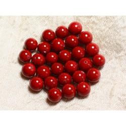 10pc - Perles Nacre Boules 6mm Rouge Cerise (C10) - 8741140005211