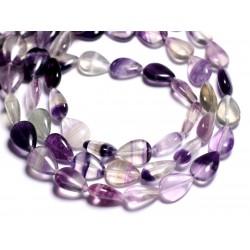 4pc - Perles de Pierre - Fluorite Violette Gouttes 14x10mm - 8741140005174