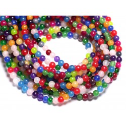 40pc - Perles de Pierre - Jade Boules 4mm Multicolore - 8741140005563