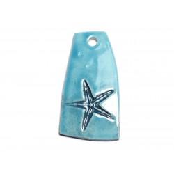 N2 - Pendentif Porcelaine Céramique Etoile de Mer Coquillage 54mm Bleu Turquoise - 8741140003859