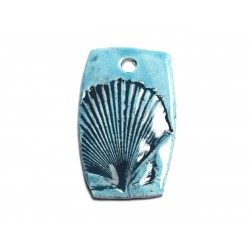 N3 - Pendentif Porcelaine Céramique Mer Coquillage 48mm Bleu Turquoise - 8741140003866