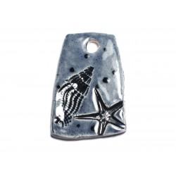N4 - Pendentif Porcelaine Céramique Etoile de Mer Coquillages 41mm Gris Bleu Anthracite - 8741140003873