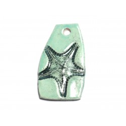 N11 - Pendentif Porcelaine Céramique Etoile de Mer Coquillage 51mm Vert Turquoise - 8741140003941