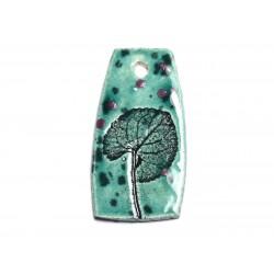 N35 - Pendentif Porcelaine Céramique Empreintes Nature Feuille 52mm Vert Turquoise - 8741140004184