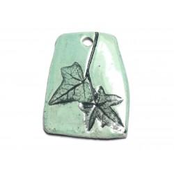 N40 - Pendentif Porcelaine Céramique Empreintes Nature Feuille 51mm Vert Turquoise - 8741140004238