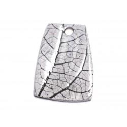 N79 - Pendentif Porcelaine Céramique Nature Feuilles 45mm Gris clair Perle - 8741140004627