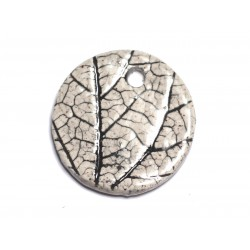 N80 - Pendentif Porcelaine Céramique Nature Feuilles Rond 34mm Gris Beige Ecru - 8741140004634