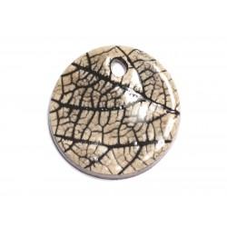 N81 - Pendentif Porcelaine Céramique Nature Feuilles Rond 35mm Gris Beige Ecru - 8741140004641