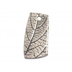N77 - Pendentif Porcelaine Céramique Nature Feuilles 53mm Gris Beige Ecru - 8741140004603