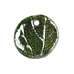 N82 - Pendentif Porcelaine Céramique Nature Feuilles Rond 34mm Vert Olive - 8741140004658