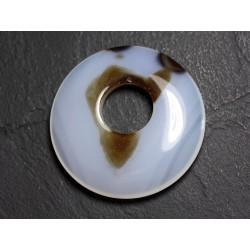 Pendentif Pierre - Agate Donut 45mm Blanc Marron N15 - 8741140004955