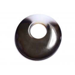 Pendentif Pierre - Agate Donut 42mm Blanc Marron Café N32 - 8741140005020
