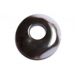 Pendentif Pierre - Agate Donut 42mm Blanc Marron Café N33 - 8741140005037