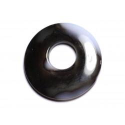 Pendentif Pierre - Agate Donut 43mm Blanc Marron Café N36 - 8741140005068