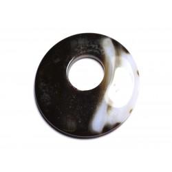 Pendentif Pierre - Agate Donut 45mm Blanc Marron Café N40 - 8741140005105