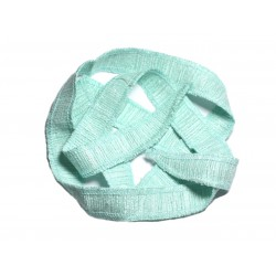 Collier Ruban Soie sauvage Bourrette 85 x 2cm Vert clair Turquoise SOIE185 - 8741140003378