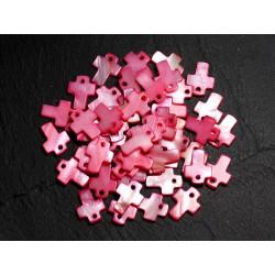 10pc - Perles Pendentifs Breloques Nacre Croix 12mm Rouge Rose Fuchsia - 8741140003446