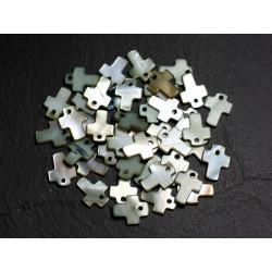 10pc - Perles Pendentifs Breloques Nacre Croix 12mm Gris Vert Kaki - 8741140003415