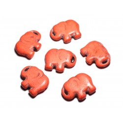 1pc - Grande Perle Pendentif en Pierre Turquoise synthèse - Elephant 40mm Orange - 4558550087867