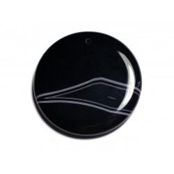 N3 - Pendentif Pierre semi précieuse - Agate noire et blanche rond 47mm - 8741140001343