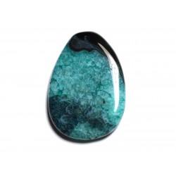 N19 - Pendentif en Pierre - Agate noire et Quartz bleu vert turquoise Goutte 57mm - 8741140001428