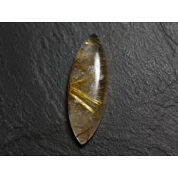 N45 - Cabochon Pierre - Quartz Rutile doré Marquise 38x14mm - 8741140002555