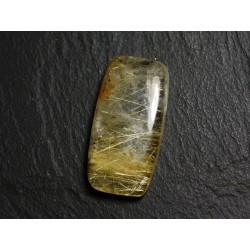 N47 - Cabochon Pierre - Quartz Rutile doré Rectangle 30x15mm - 8741140002579