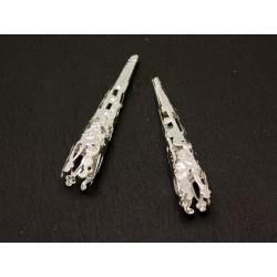 20pc - Apprêts longs Cônes Métal argenté arabesques filigranes 40mm - 8741140001848