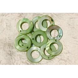 10pc - Breloques Pendentifs Nacre Cercles 25mm Vert 4558550017086