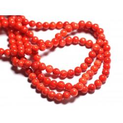 20pc - Perles de Pierre - Jade Boules 6mm Rouge Orange Vermillion - 8741140001107