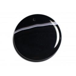 N5 - Pendentif Pierre semi précieuse - Agate noire et blanche rond 47mm - 8741140001367